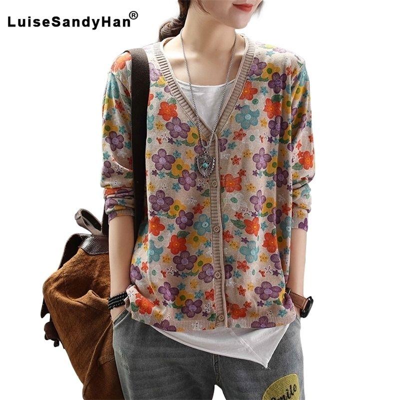 New Spring Sweater Shirt da donna Camicia da donna a maniche lunghe Cardigan Maglione stampato Single-Breasted Retro Art LJ201017