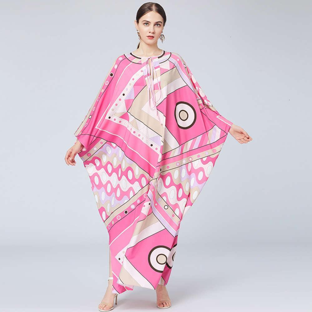 가을 2021 새로운 크기 여성 두바이 이슬람 루스 가운 프린트 드레스