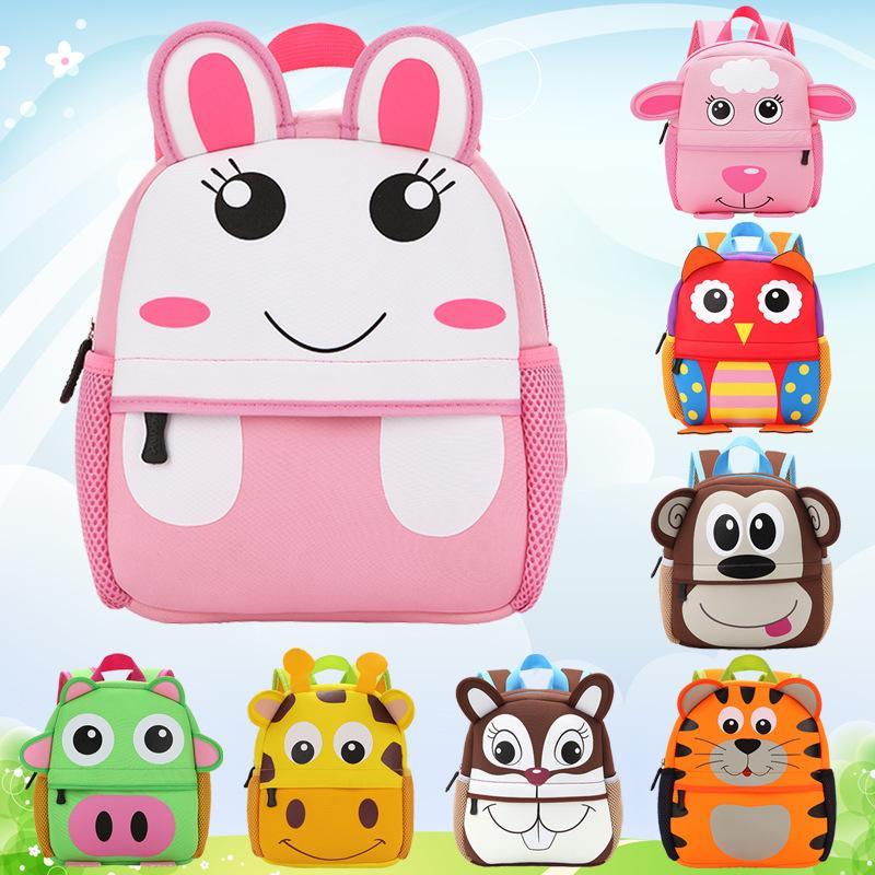 Kinder Rucksäcke 3D Tierkinder Rucksäcke Marke Design Mädchen Jungen Rucksack Kleinkind Neopren Schultaschen Kindergarten Cartoon Tasche