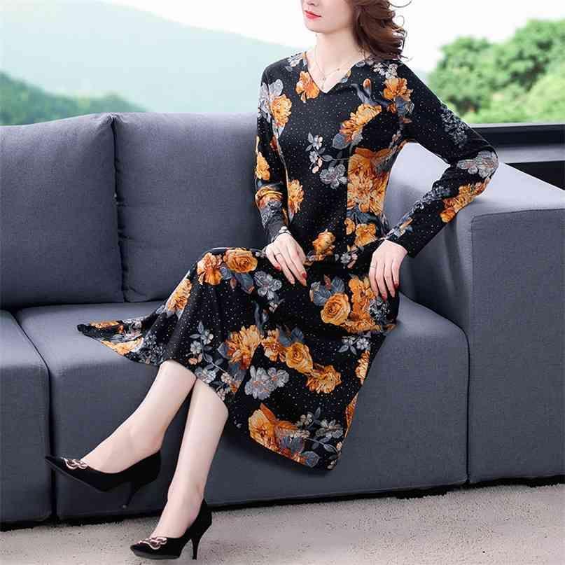 Frühling gelb Blumen Casual Midi Kleider Vintage Print 4XL Plus Size Langarmkleid Frauen Elegante Bodycon Party Vestidos 210603
