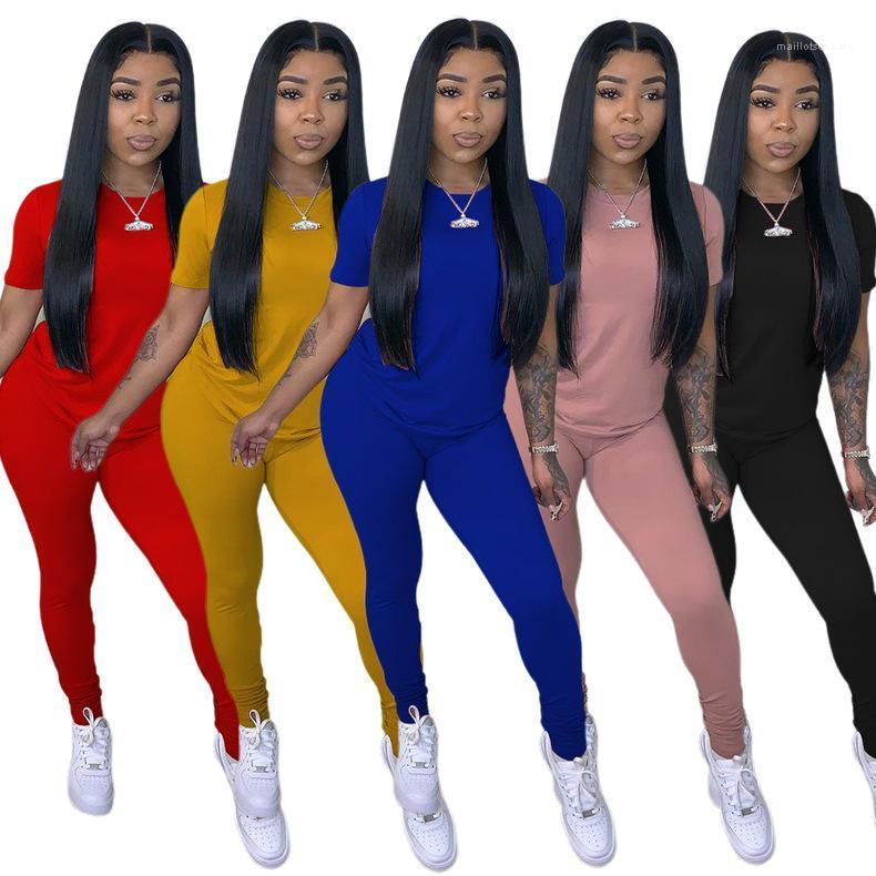 Designer Trainingsanzüge Mode Weibliche Kleidung Frauen Zwei Teile Hosen Set Sommer Feste Farbe Kurzarm Crew Hals