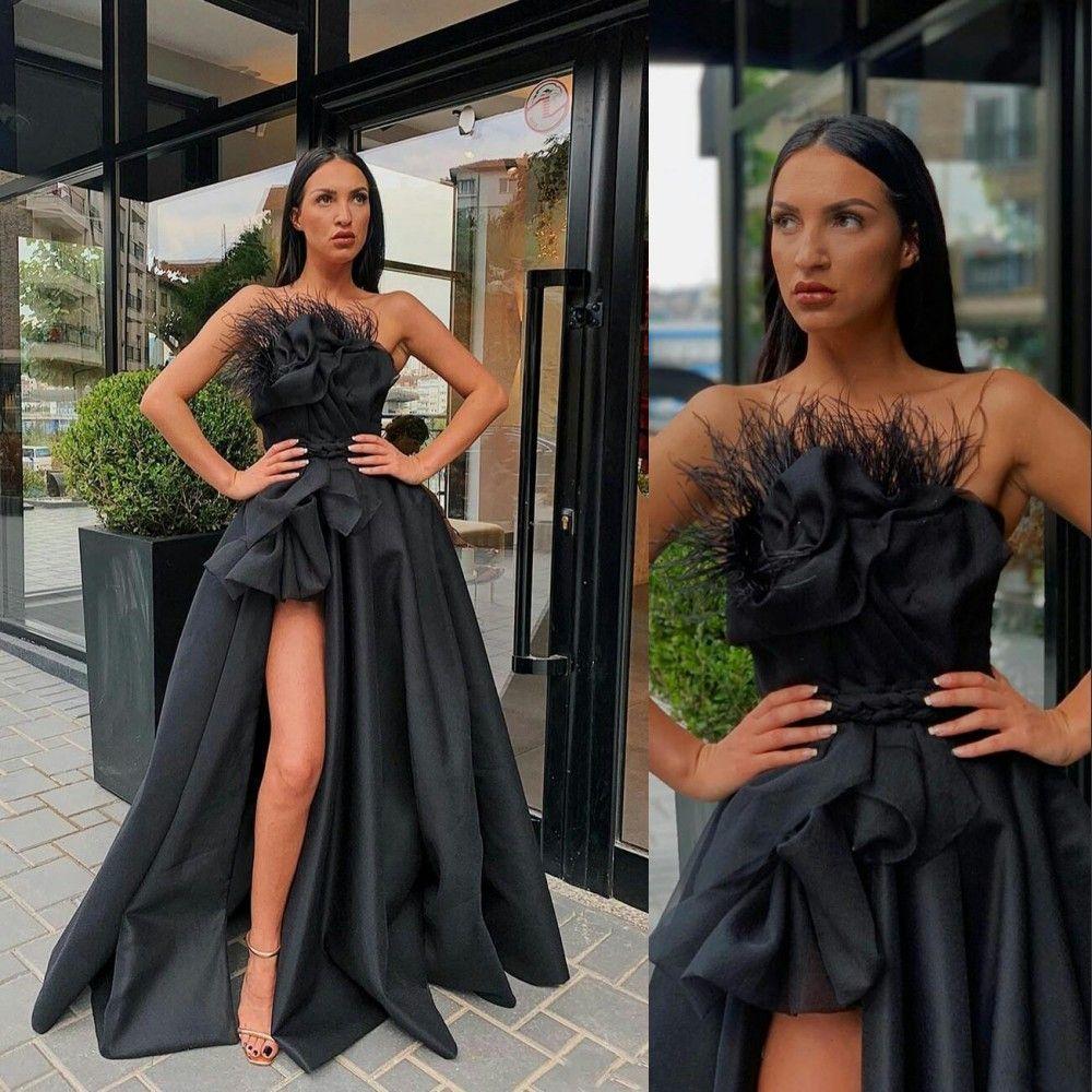 2021 섹시한 검은 이브닝 드레스웨어 깃털 측면 웨더와 민소매를 착용 하이 스 칼리스 라인 Satin Prom 드레스 공식 특별 행사 가운