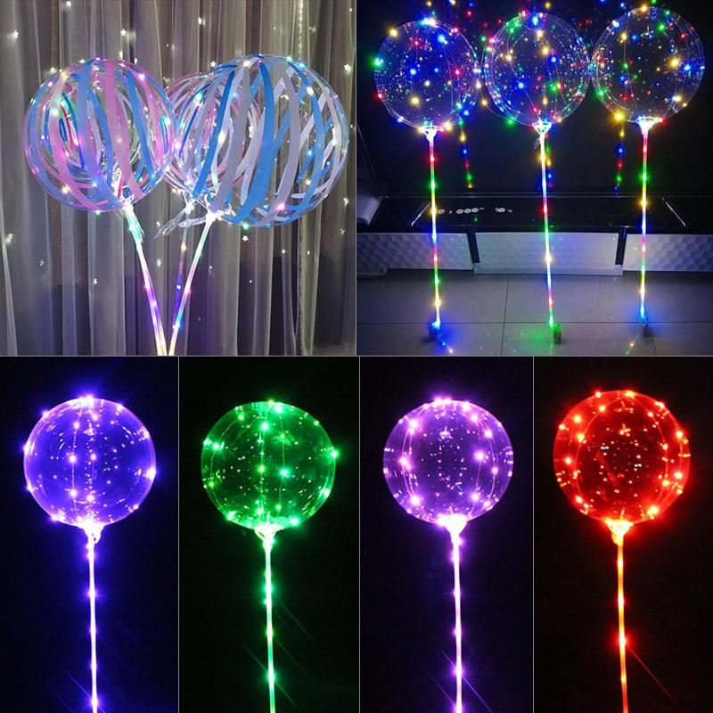 Luminous LED Balloon 20 inch Print Stripe Transparent Balloons With 70cm Pole 3 Meters Led Line String Wedding Party Decorations Holiday