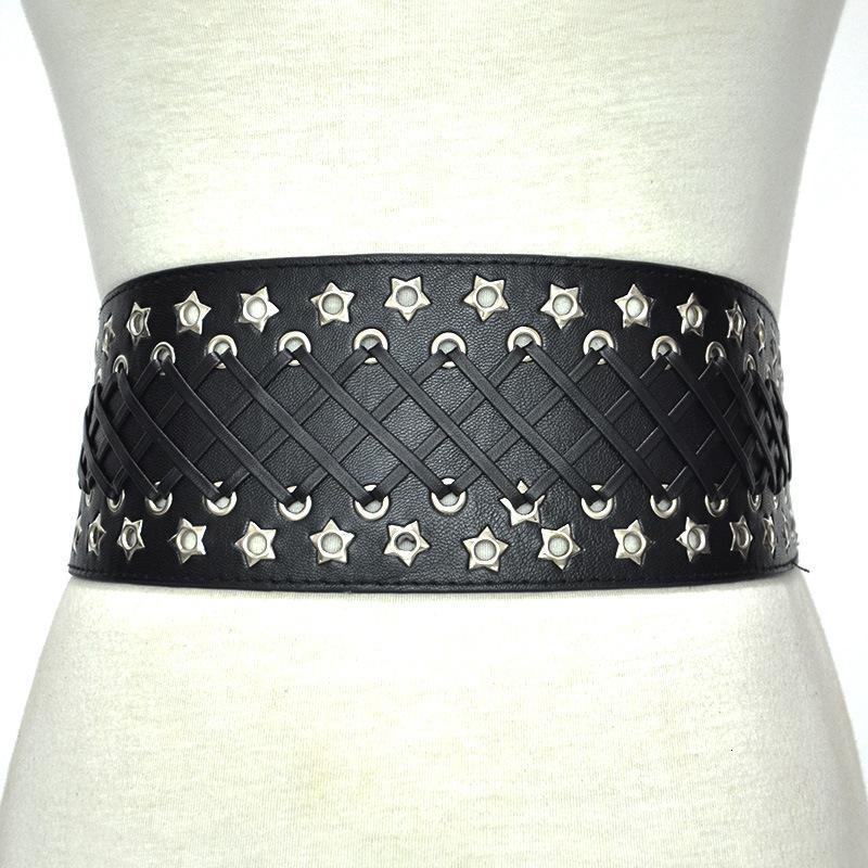 Cinturón de la cintura de las mujeres Cinturón de cuero perforado de la imitación de cuero de la versión ancha de la versión del cinturón de las mujeres accesorios