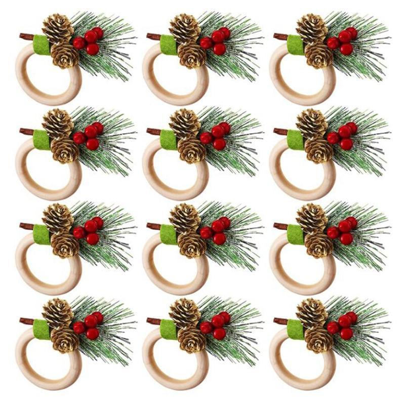 Anéis de guardanapo 12 peças pinho cones de natal titular anel decoração para festa de aniversário de casamento