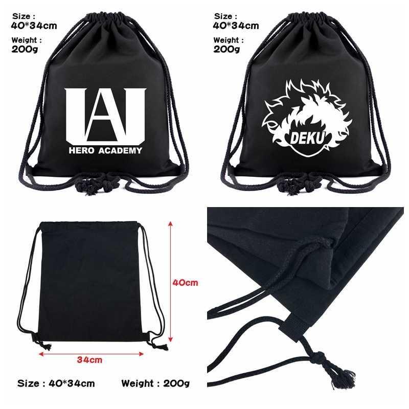 My Hero Academia Drawstring Bag Deku 40 cm Viagem Portátil Cosmético Pequeno Mochila Escola de Desenhar String