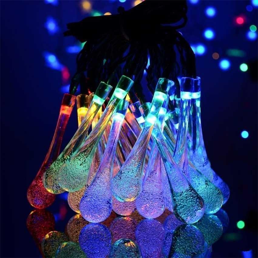 Ball Solar Crystal 21FT Gota de agua 30 LED Globo motorizado Fairy 8 Efecto de trabajo para el jardín al aire libre Decoración de Navidad H