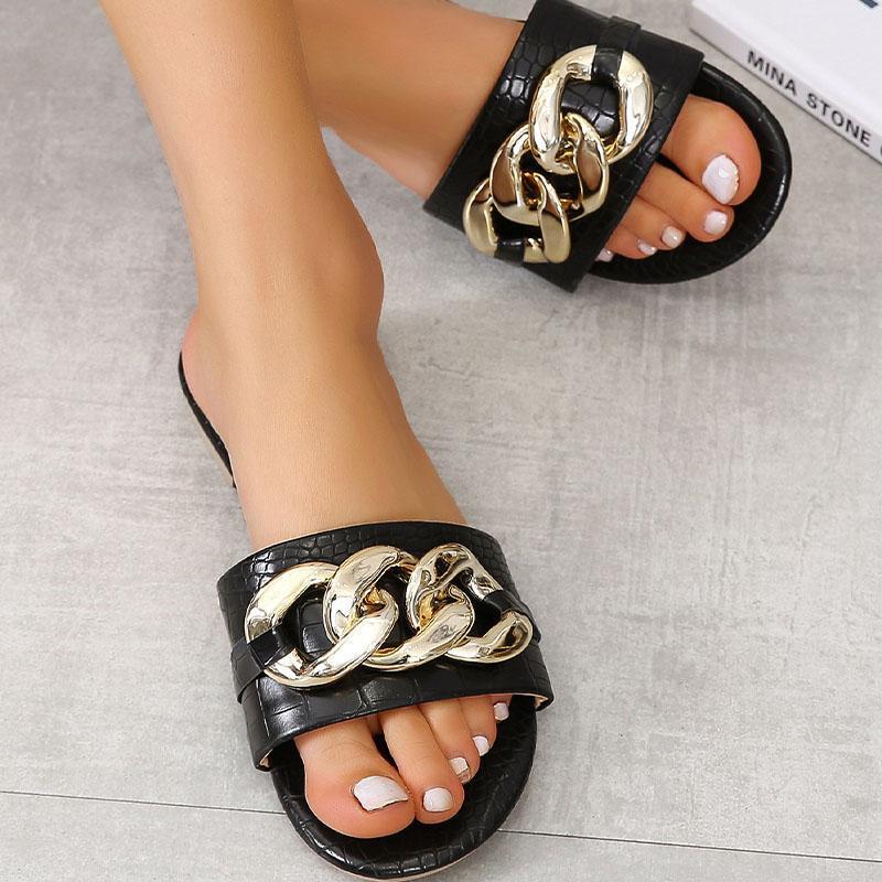 Zapatillas Sexy cadena mujeres verano sandalias de punta abierta plana deslizadores antideslizantes para damas zapatos de playa Zapatillas de mujer Claqueta Femme