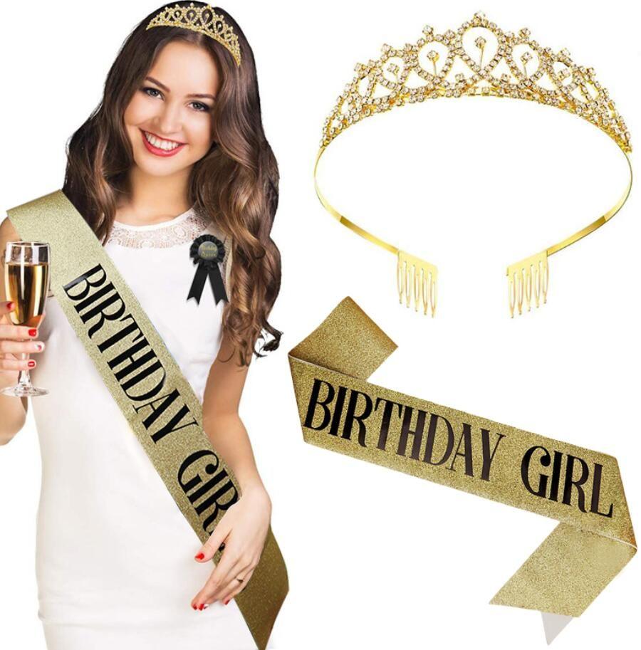 Moda Decoración de cumpleaños Rose Oro Cumpleaños Reina / Chica Satin Sapash Con Croams Crown Para Mujeres Adulto 18 21 Fiesta De Cumpleaños Suministros