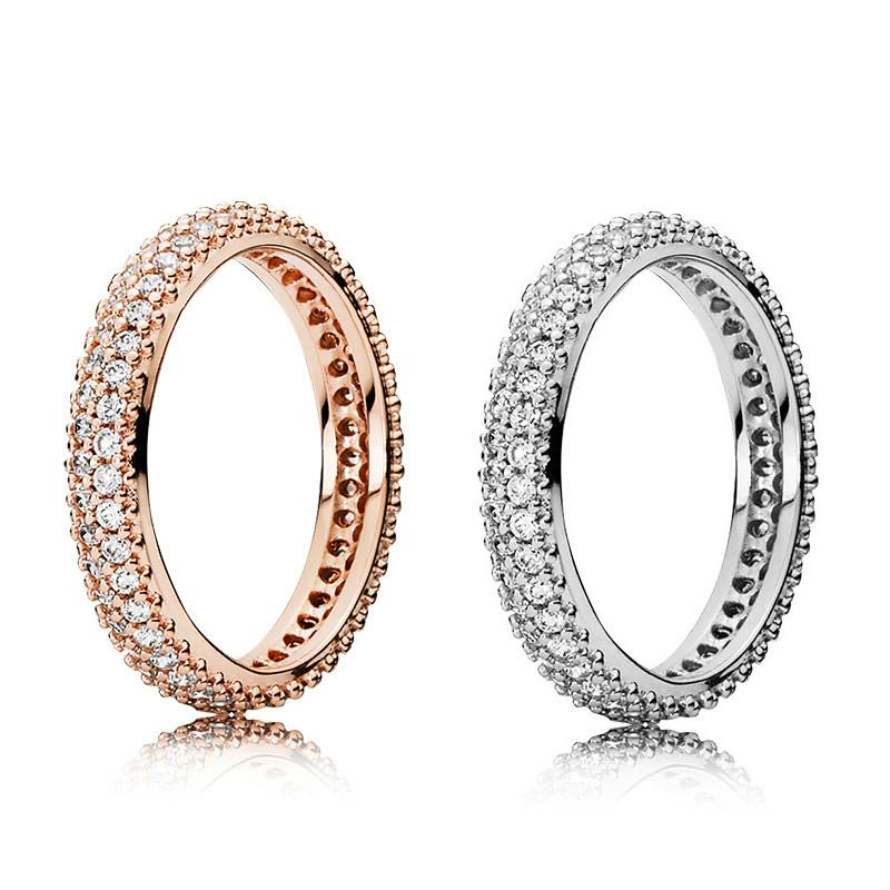 2021 100% 925 Sterling Silver RINGS With Cubic Zircon Original box For Pandora Fashion Ring for Valentines Day Rose Gold Wedding Ring Women