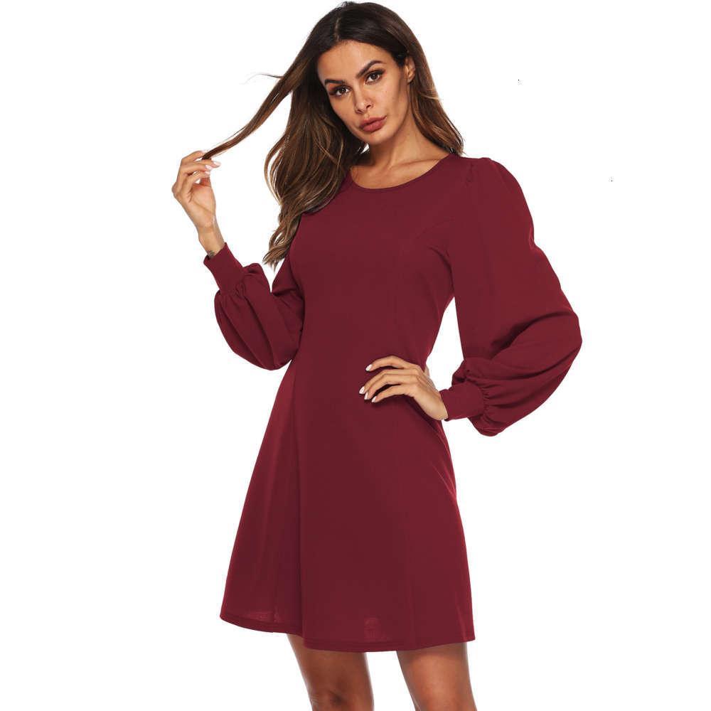 Vestidos Temperamento Moda Otoño y manga Funda Invierno Linterna Suelta Simple A-Line Falda Slim Vestido A1727 CALIENTE