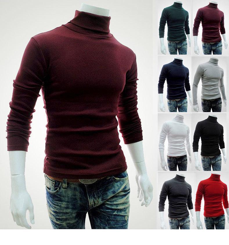 Весна осень мужская дизайнерская футболка с длинным рукавом высокая шея тонкий тройник сплошной цвет вскользь мужская одежда
