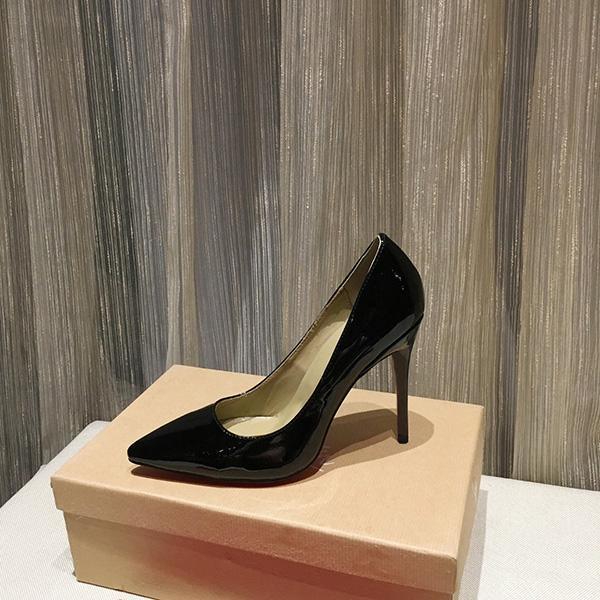 Calzado de la mejor calidad Zapato rojo suelas de tacones altos zapatos de vestir sexy puntiagudo punteado rojo suela fondos gruesos moda estilo múltiple con caja
