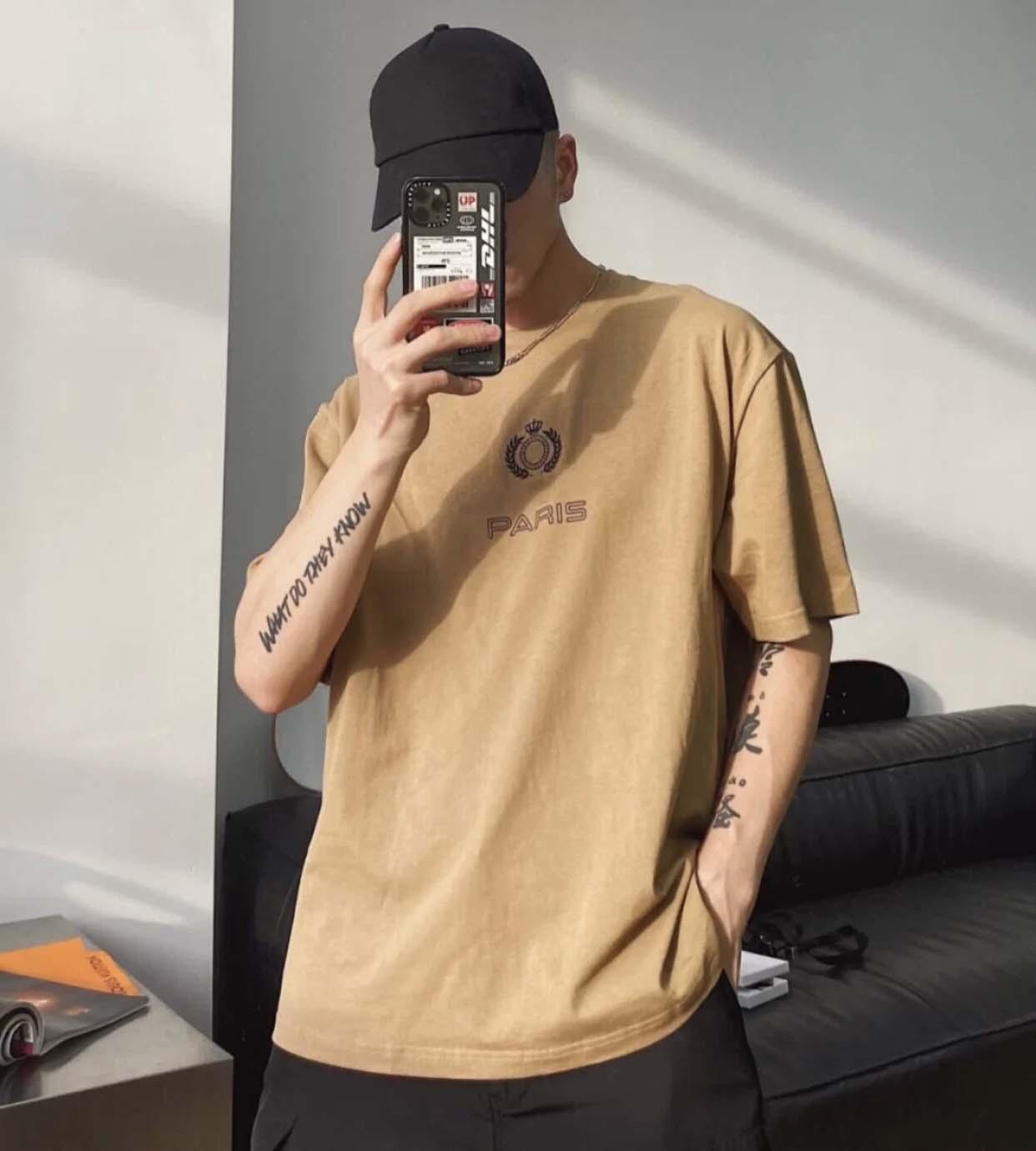21s homens impresso camiseta t tee trigo cabeça letras de impressão homens roupas manga curta mens camisas tag letras polo novo marrom