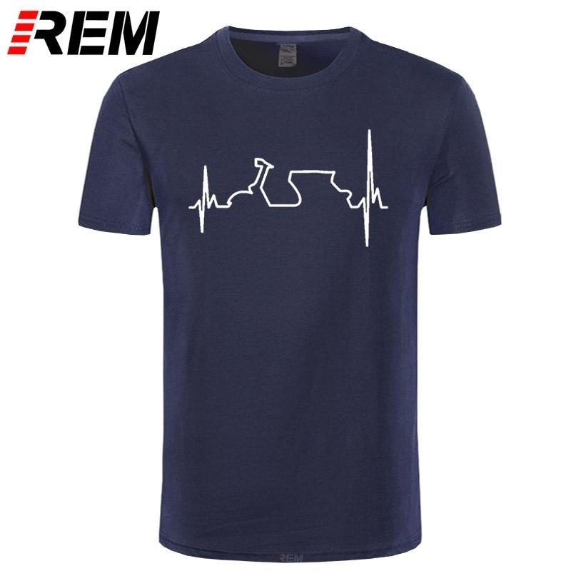 T-shirt de coton REM Coton drôle Vespa Heartbeat T-shirts Hommes Harajuku Chemise Hip Hop Tees Tops Harajuku Streetwear Fitness 210301
