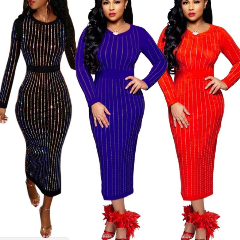 Женщины дизайнерские юбки с длинным рукавом цельные платья высокого качества одежда Bodycon платье сексуальная элегантная роскошная мода Maxidress Hot KLW0212