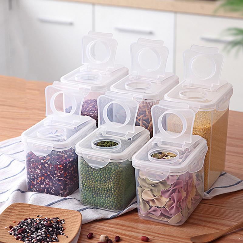 Caixa de armazenamento Plástico Limpar recipiente Conjunto com tampas de despejos Cozinha Transparente Frascos de Armazenamento à prova de umidade frascos tanque de grãos