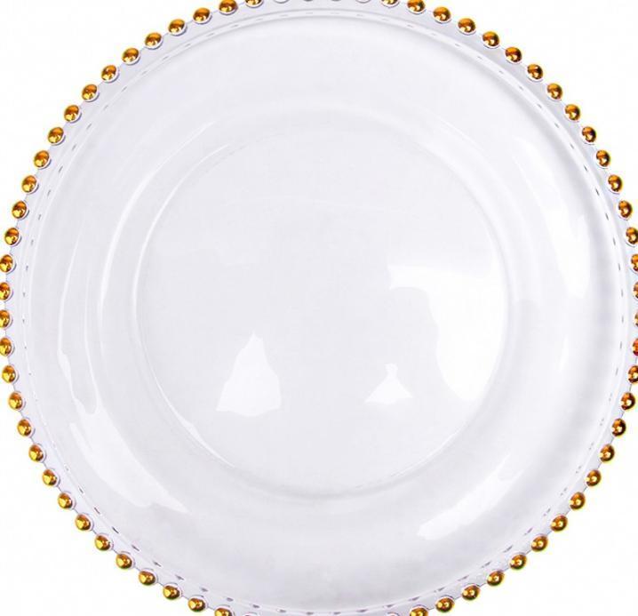 2021 مخزنة 13 بوصة جولة الزفاف واضح الفضة الفضة / الذهب الزجاج مطرز شاحن patates لوحة زجاج الزفاف الديكور