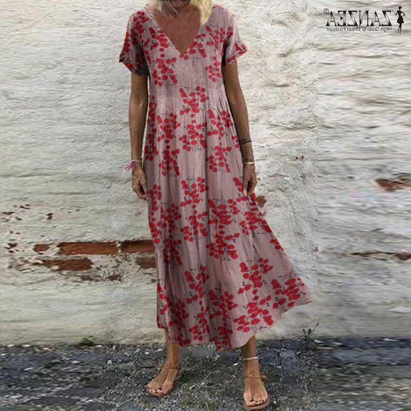 Zanzea Femmes Sundress Bohemian Floral Print Plage Maxi Robe Vintage V Cou À manches courtes Robes surdimensionnées Femme Kaftan Vestido7 J0301