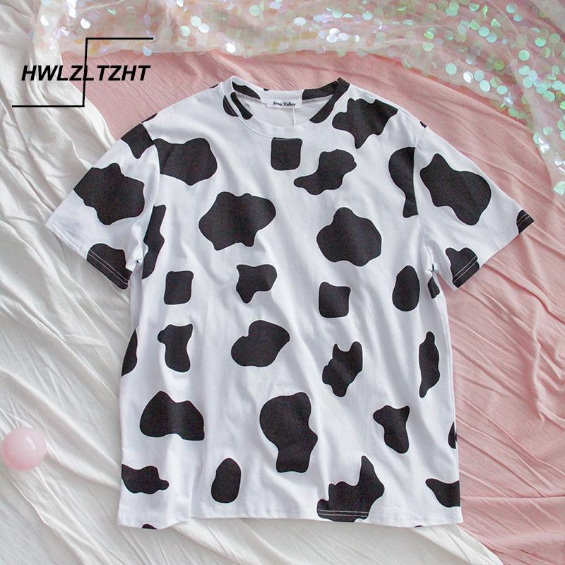 HWLZLTZHT Pamuklu T Gömlek Yaz kadın Giyim Büyük Boyutları İnek Baskı Temel T Gömlek Kadın Rahat O-Boyun Tshirt Büyük Boy 210312