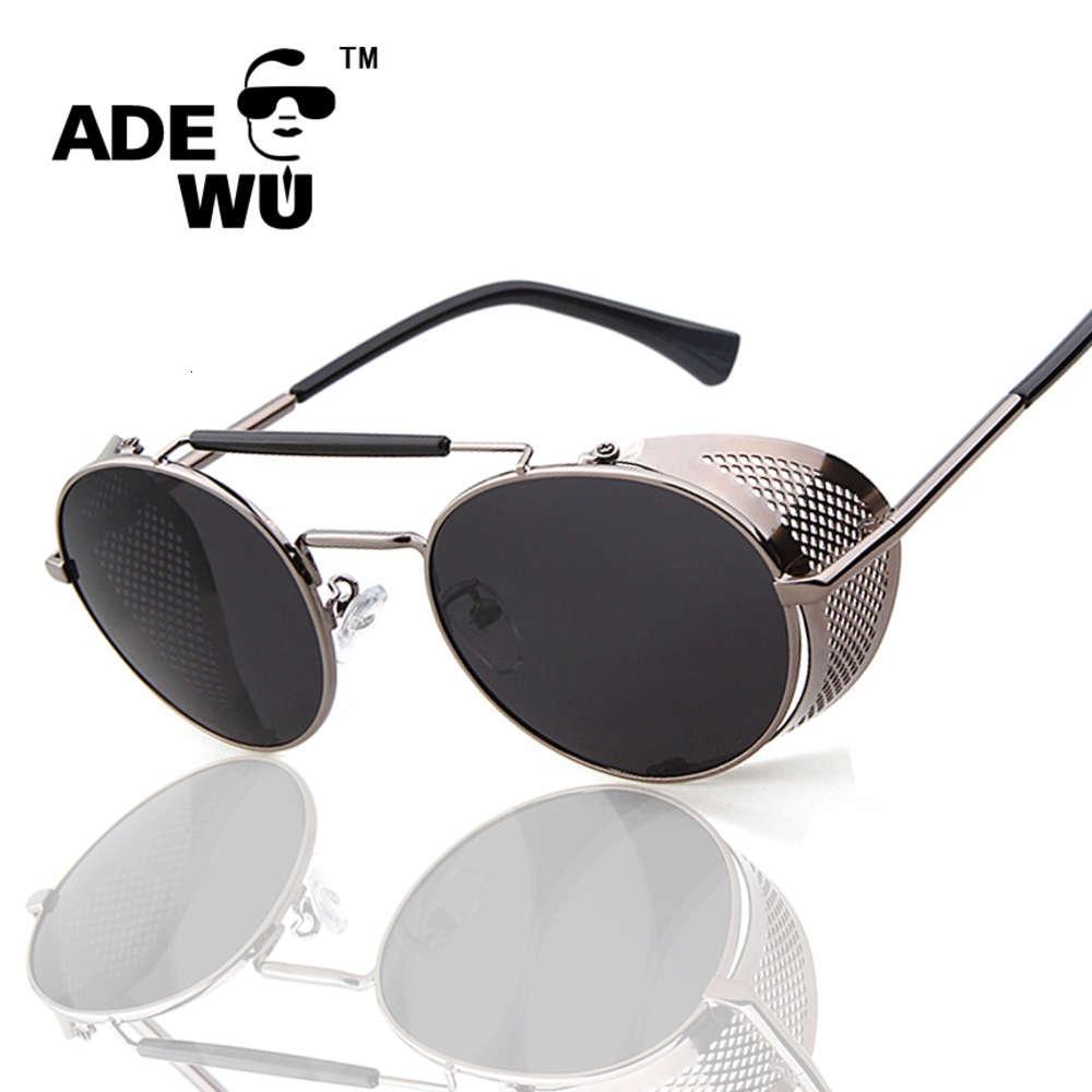 Uomini Adewu Brand Hight Quality Sunglasses Telaio in metallo Steampunk Goggle Uomo Donna Occhiali da sole Occhiali da sole Vintage Occhiali da vista