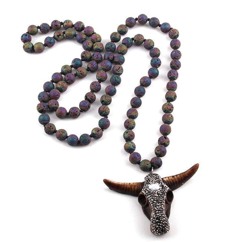 Кулон Ожерелья MoodPC Мода Богемные племенные Ювелирные Изделия Мульти Лава Камни длинные завязанные ручной работы из асфальтированного быка.