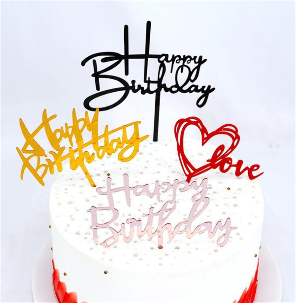 Akrilik Kek Topper Altın Mutlu Doğum Günü Pastası Toppers Çocuklar Doğum Günü Partisi Kek Süslemeleri Doğum Günü Tatlı Hediye Kutlamak