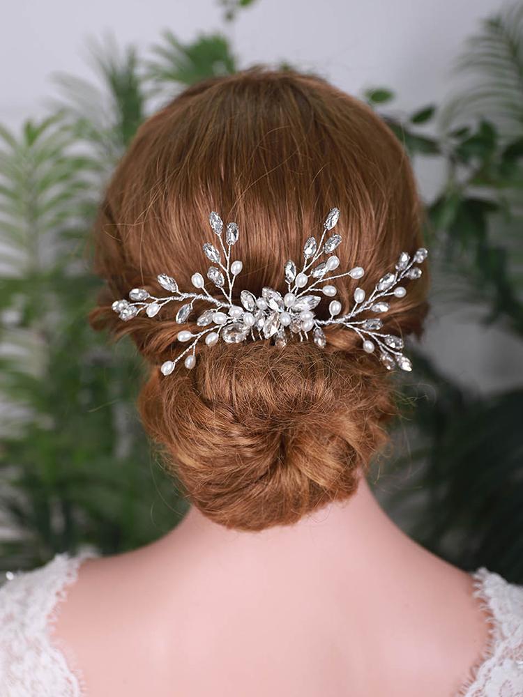 Haarklammern Barrettes Luxus Hochzeit Zubehör Strass Blume Schmuck Frauen Kamm Für Braut Ornamente Braut Headwear
