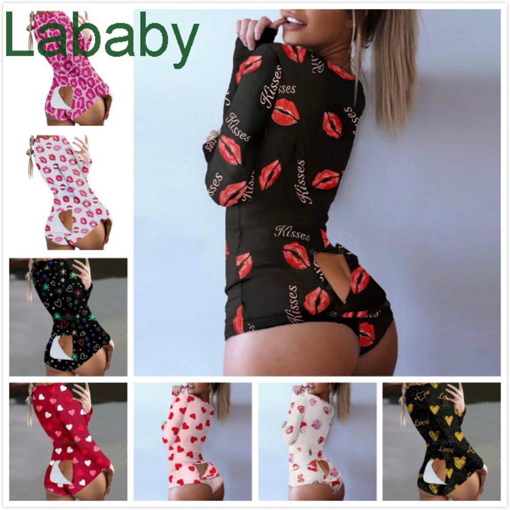 Women Jumpsuits Rompers Designer Pajama Onesies Valentine's Day Love Pattern Nightwear Bodysuit Workout Button Skinny V-neck Short Pants 813