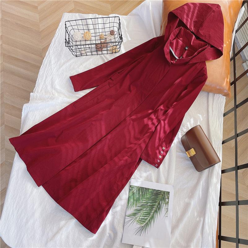 Abrigos de la zanja de las mujeres 2021 Caída Larga Cortavientos Chaqueta Coche Azul Rojo Señoras Puras Color Puro Suelto Gran tamaño con capucha Otoño Otoño AQ944