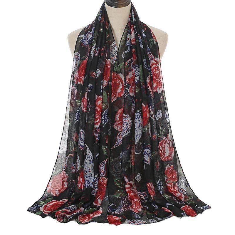 Mujeres floral viscosa chal moda femenino de alta calidad impresión hijab y envoltura robado bufandas snood bandana 180 * 90 cm bufandas