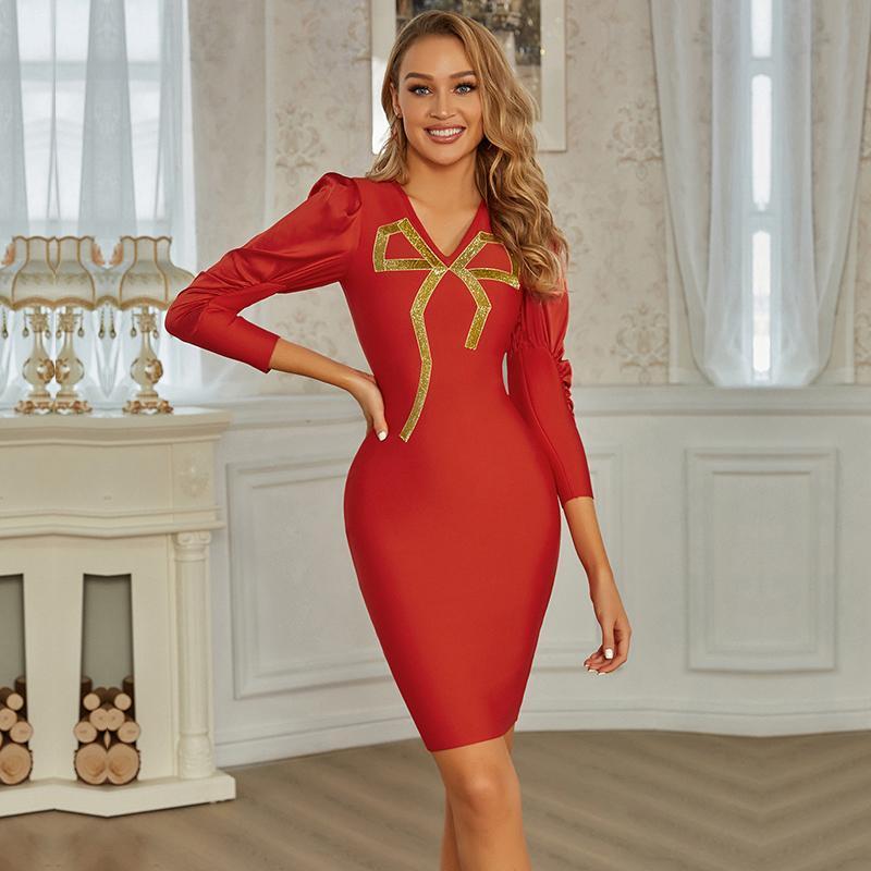 Vestido de vendaje de manga larga de invierno de la señora de los ciervos 2021 recién llegados Red V cuello sexy vendaje vestido bodycon celebridad club fiesta