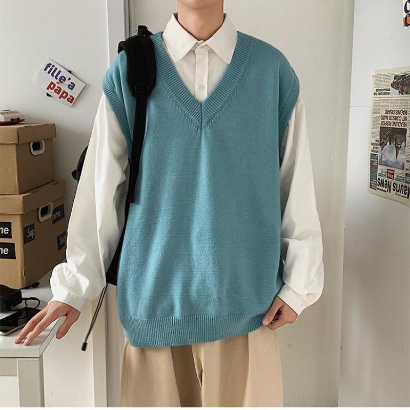 Suéter de gran tamaño Chaleco de suéter Ropa 2020 Nueva llegada Color sólido Otoño Streetwear Pullover Homme Spring Wool Suéter Hombres Ropa