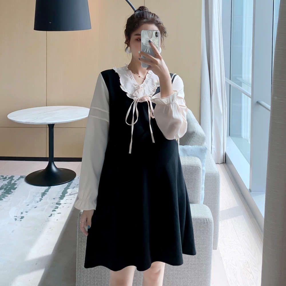 Sonbahar Moda Uzun kollu Hamile Kadınlar Annelik A-Line Elbise Artı Boyutu V Yaka Beyaz Patchwork Siyah Gebelik Giysileri