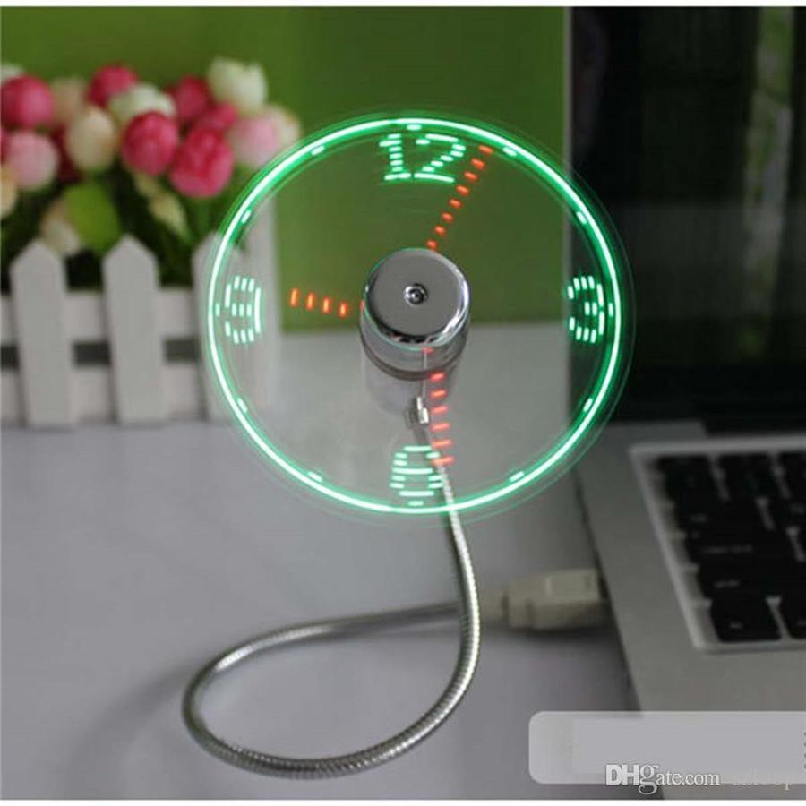 USB Gadget Mini Flexible LED Light USB Fan Time Clock Desktop Clock Cool Gadget Time Display 0408005