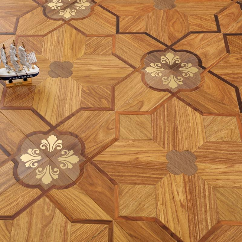 Goden Yellow Brass and burma teak hardwood flooring parquet tile engineered timber marquetry medallion inlay home decor background wall rugs