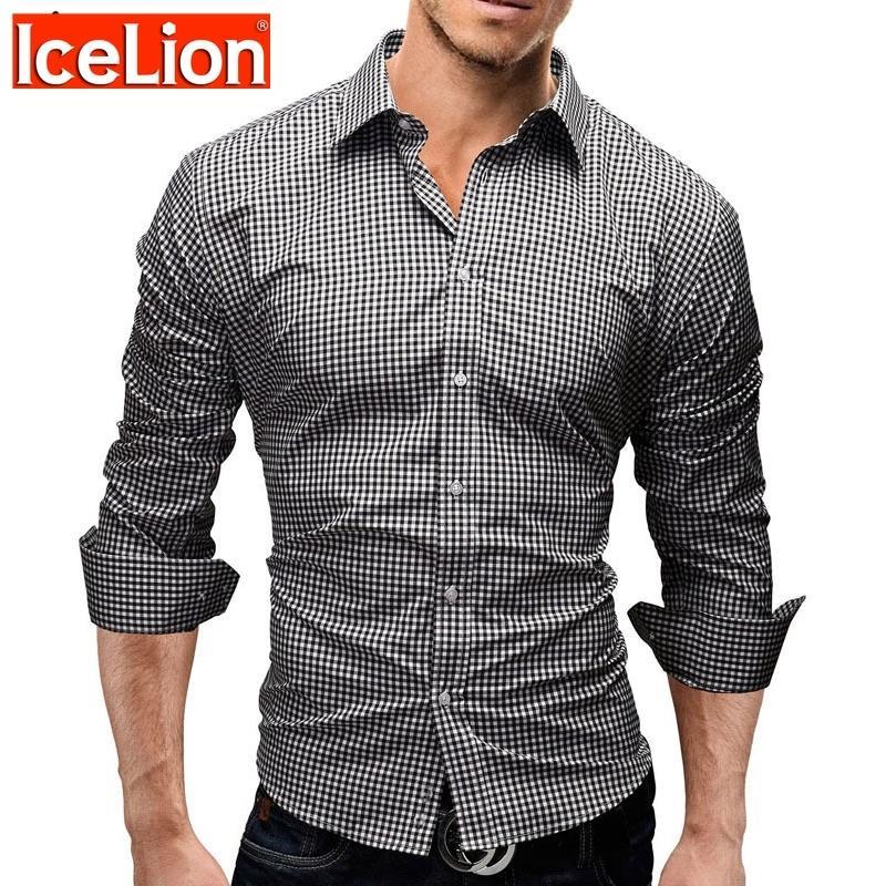 Icelion 2021 Primavera camisa xadrez homens homens mangas compridas Slim Fit vestido camisa masculina casual camisa marca camisa social masculina 210310