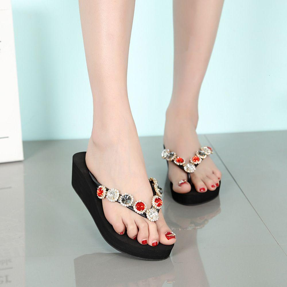 2020 el yapımı boncuklu ağır alt flip flop anti kayma orta topuk plaj terlik kadın yaz Kore tatil sandalet
