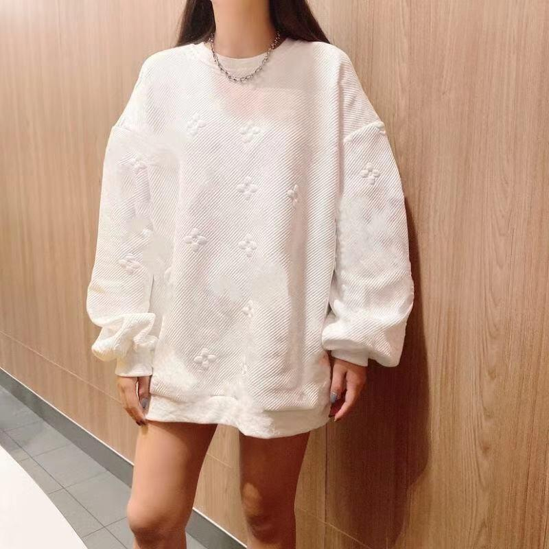 [High Quality] Sweater 2021 Fall/Winter New Presbyopia Embossed Printed Long Sleeve Sweater Loose Top Couple