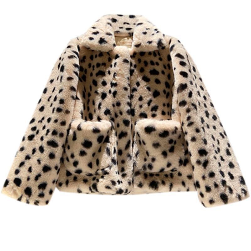 Women's Fur & Faux Coats Leopard Imitation Mink Long Coat Plus Size Female Overcoat Turndown Collar Vintage Ladies 431