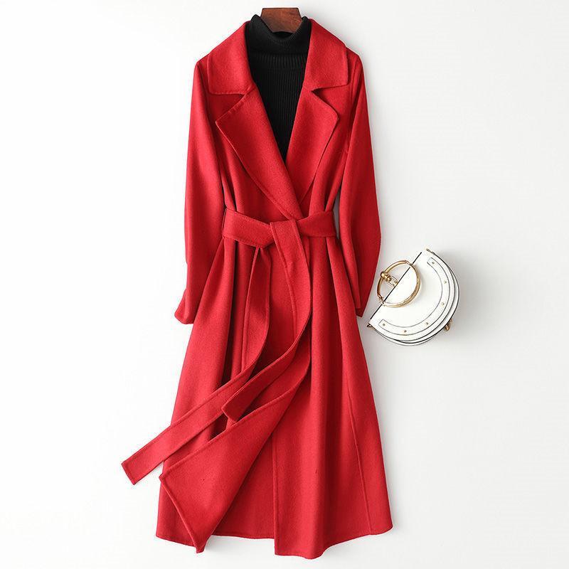 2021 Yeni Koreli kadın Yün Ceket Sonbahar Kış Uzun Ince Dış Giyim Kadın Yün Palto Ceket Femme Rüzgar Kırıcı Siper A423 Eng0