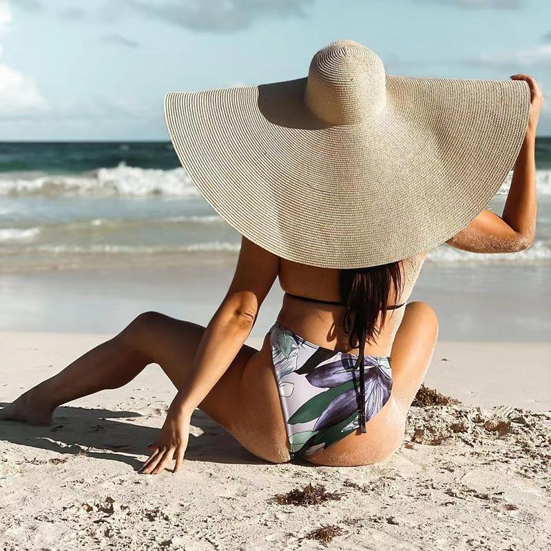 25 سنتيمتر واسعة بريم القش قبعة المرأة شاطئ القبعات المتضخم أزياء السيدات الصيف 2021 uv حماية طوي الشمس الظل كاب sunhat