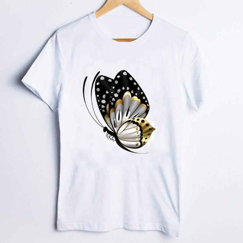 Camisetas para mujeres Imprimir mariposa elegante oficina 90s impresión de manga corta tendencia mujer ropa lady tops ropa mujer t camiseta
