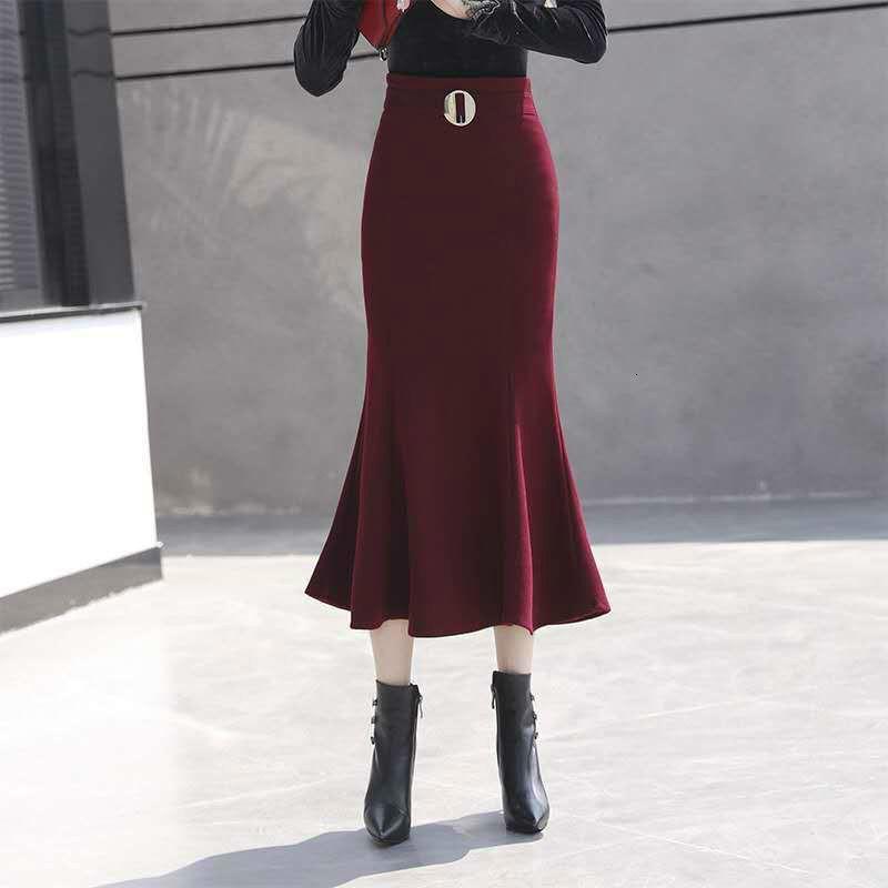 Bahar Yünü Orta Mermaid Moda Etek Kadınsı Moda Etekler Kemer Y256 0VN5
