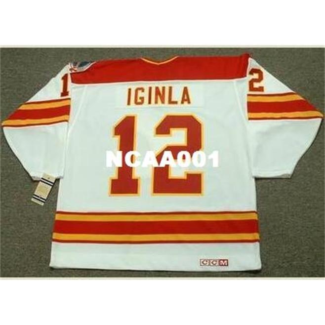 001S # 12 Jarome Iginla Calgary Flames 1989 CCM Vintage Away Hoqkey Jersey или пользовательское имя или номер ретро Джерси