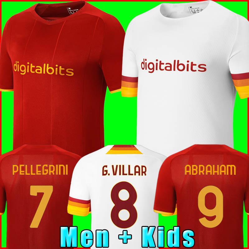 Üst Formalar Abraham Zaniolo Roma Pastore Roma Totti Kluivert KARAROV Olarak 21 22 Futbol Futbol Gömlek 2021 2022 Erkekler + Çocuk Kiti Üniforma Maillot 000