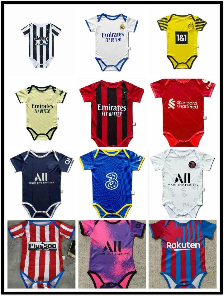 2021 2022 Paris Real Madrid Baby Soccer Maillots de football 6 à 18 Sao Paulo Palmeiras Mois Flameng Chemises de football Ballon pour bébé Body 21 22 Vêtements Maillots Futbol