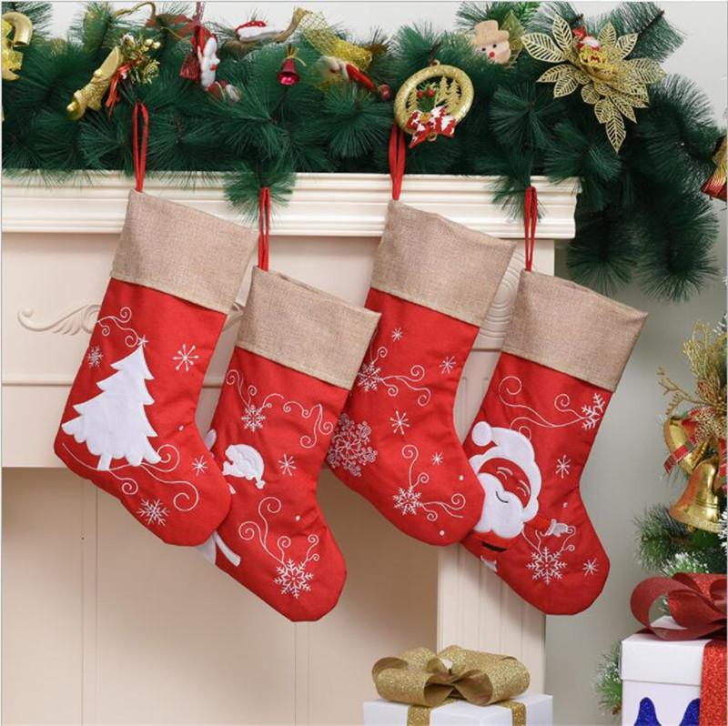 عيد الميلاد تخزين الكرتون سانتا كلوز نمط الجوارب الكتان شجرة عيد الميلاد الحلي قلادة مهرجان هدية حقيبة الديكور
