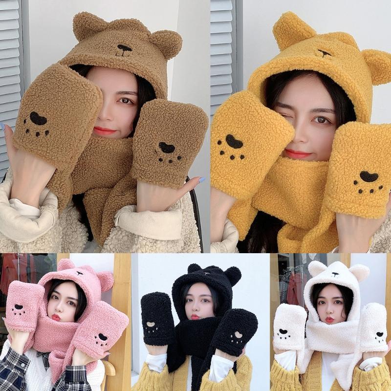 Шапочки / черепные колпачки женщины зима 3 в 1 нечеткие плюшевые теплые милые медведь уши с капюшоном шарф шляпные перчатки набор 85WB