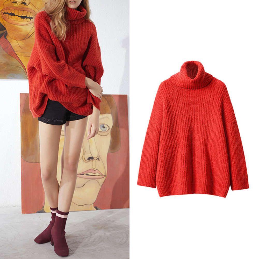 Popolare a due colori Drop Shoulto Singolo Turtleneck Mid Long Corean Girls 'Versatile Top Fashion